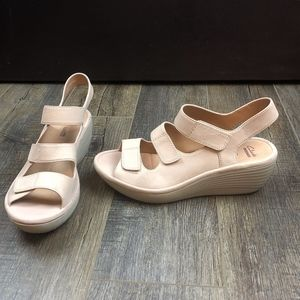 Clarks Collection Soft Cushion Nude Wedges Shoes